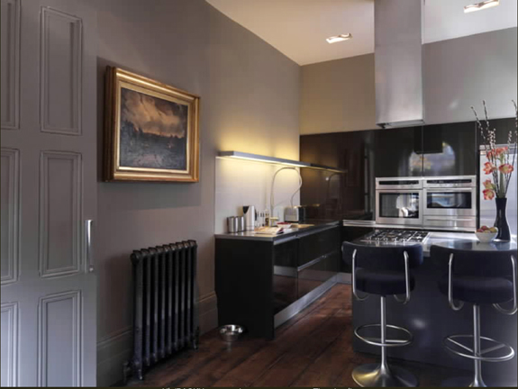 The kitchen's modern appliances actually enhance the look of the ancient radiator.