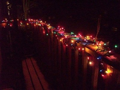 CaffeePants didn't forget to dress up her deck with festive lights.