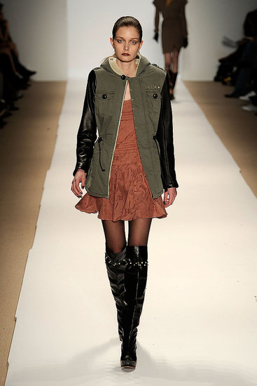 A Sweet Olive Green Jacket With Leather Sleeves at Ronson