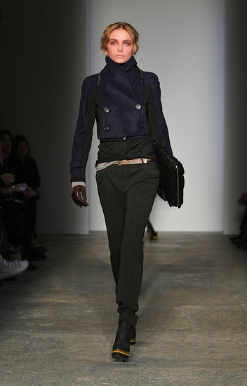 Proenza&#039;s Cropped Navy Peacoat, Tough Gloves, and Sporty Boots