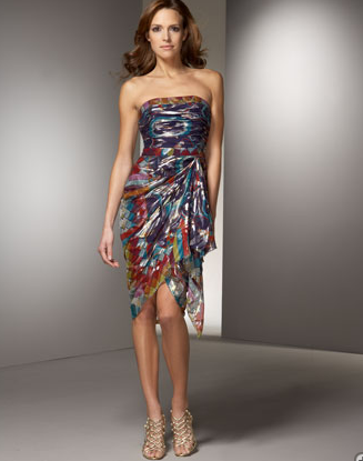 Nicole Miller Printed Strapless Dress