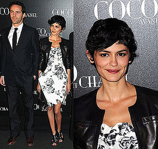 "French Actress Audrey Tatou Wear a Black and White Floral Chanel Dress at the ""Coco Avant Chanel"" Paris Premiere"