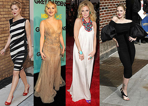 Drew Barrymore's Various Outfits At Grey Gardens Premieres