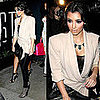 Kim Kardashian at STK&#039;s One Year Anniversary in LA Wearing Yves Saint Laurent Grid Boots and House of Harlow Necklace