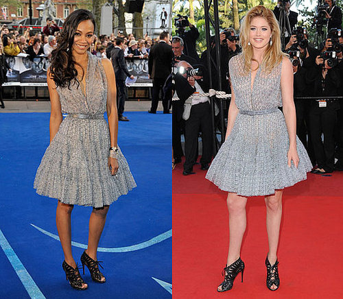 Zoe Saldana and Doutzen Kroes Both Wear Azzedine Alaia's Gray Full-Skirt Dress