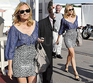 Diane Kruger Strolling Cannes in Splendid Floral Blouse and Ray Ban Wayfarers