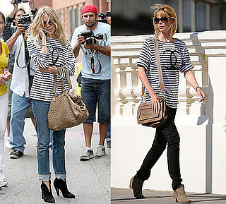 Claudia Schiffer and Sienna Miller Both Wear Black and White Striped Chanel T-Shirt