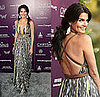 Actress Angie Harmon Attends Annual Chrysalis Butterfly Ball in Kaufman Franco Printed Maxi Dress With Brown Belt