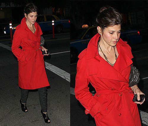Marisa Tomei Walks in Hollywood Wearing a Red Trench Coat