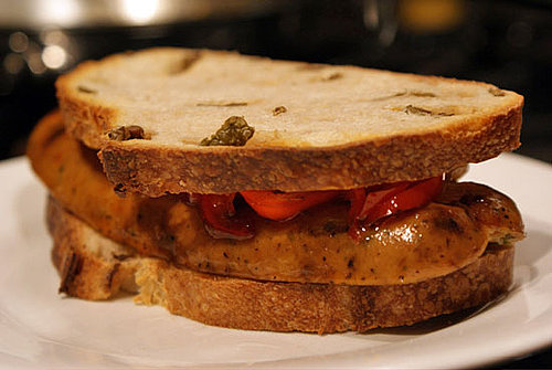 Recipe For Grilled Gourmet Sausage Sandwich With Peppers and Onions on Olive Bread