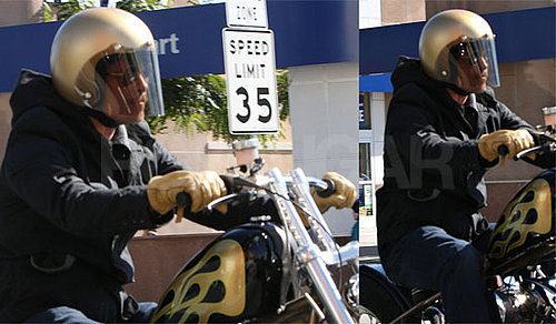 Photos of Brad Pitt Riding a Motorcycle in LA, Trailer for Inglourious Basterds