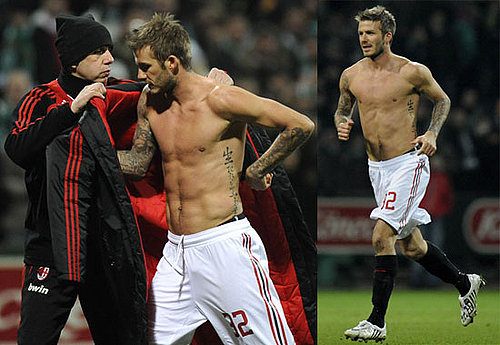 Photos of Shirtless David Beckham Playing with AC Milan in Germany