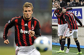 Photos of David Beckham Playing Soccer in Milan