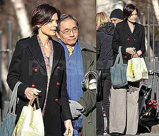Photos of Katie Holmes on the Set of The Extra Man in New York