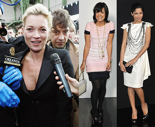 Photos of Kate Moss, Claudia Schiffer, Jamie Hince, and Lily Allen at the Chanel Show During Paris Fashion Week