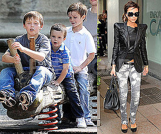 Photo of Victoria Beckham Shopping in Milan; Romeo, Cruz and Brooklyn Beckham Playing Together at a Park