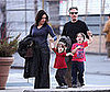 Photo of Jon Stewart with Kids Maggie and Nathan and wife Tracy in NYC