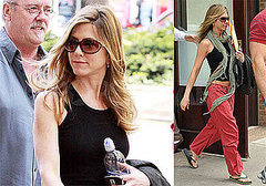Aniston on Set