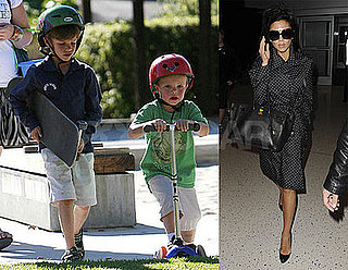 Photos of Victoria Beckham at JFK Airport; Romeo and Cruz Beckham Playing in LA