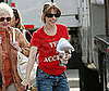 Slide Photo of Rachel McAdams Wearing a Red Shirt On the Set of Morning Glory on Long Island