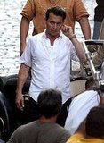 Johnny Depp Wet on Set