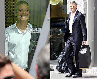 Photos of George Clooney Filming Nespresso Commercial in Milan