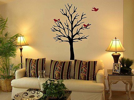 Bare Tree Vinyl Wall Decal with 3 Little Birds ($35) 