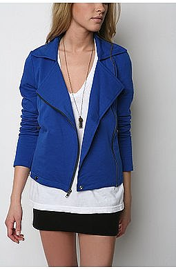 Silence & Noise Fleece Motorcycle Jacket: Cobalt Blue
