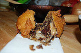 Deep Fried Peanut Butter-Covered Brownie Wrapped In Cookie Dough