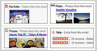 Gmail Labs Adds Previews in Email Messages For Yelp, Picasa, YouTube, Flickr