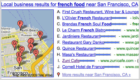 Google Maps Displays Local Search