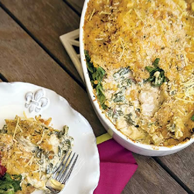 Oyster, Bacon, and Swiss Chard Gratin