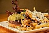 Prather ranch beach burger with aged gouda, caramelized onion, mushroom, kennebec fries
