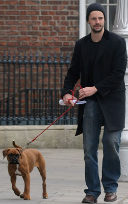 Photos of Watchemn Star Matthew Goode and His Boxer Puppy In Dublin, Ireland