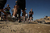 Members of the US Army participate in a running race on Forward Operating Base in Afghanistan.