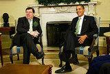 President Obama and Irish Prime Minister Brian Cowen take part in a shamrock ceremony.