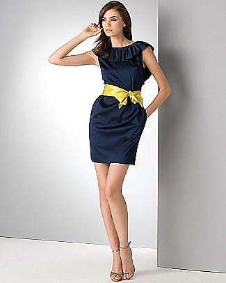 Aqua Navy Blue Open Back Ruffle Dress