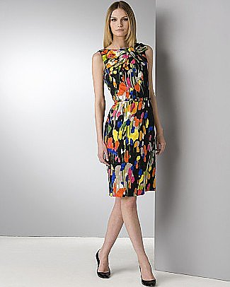 David Meister Abstract Splatter Belted Sheath Dress