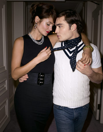 Ed Westwick & Helena Christensen Lock Lips — Almost!