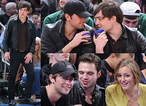 Photos Of Ed Westwick, Leighton Meester, Chace Crawford and Sebastian Stan At A Knicks Basketball Game