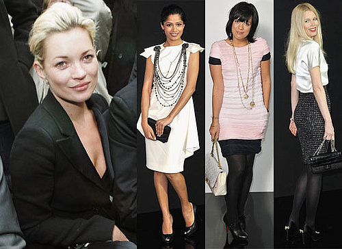 Photos of Lily Allen, Kate Moss, Beth Ditto, Claudia Schiffer, Milla Jovovich, Freida Pinto at Paris Fashion Week