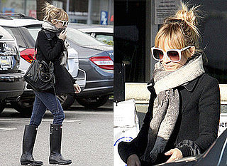 Nicole Richie with Balenciaga Bag and Hunter Wellies