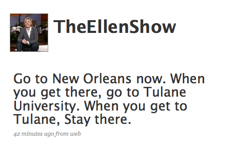 Tweet Nothings: Ellen DeGeneres Loves New Orleans!