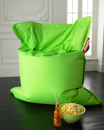 Create a vibrant kid space with a lime green Fatboy beanbag ($229).