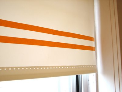 Update simple white shades with stripes, thanks to Jessica at How About Orange.