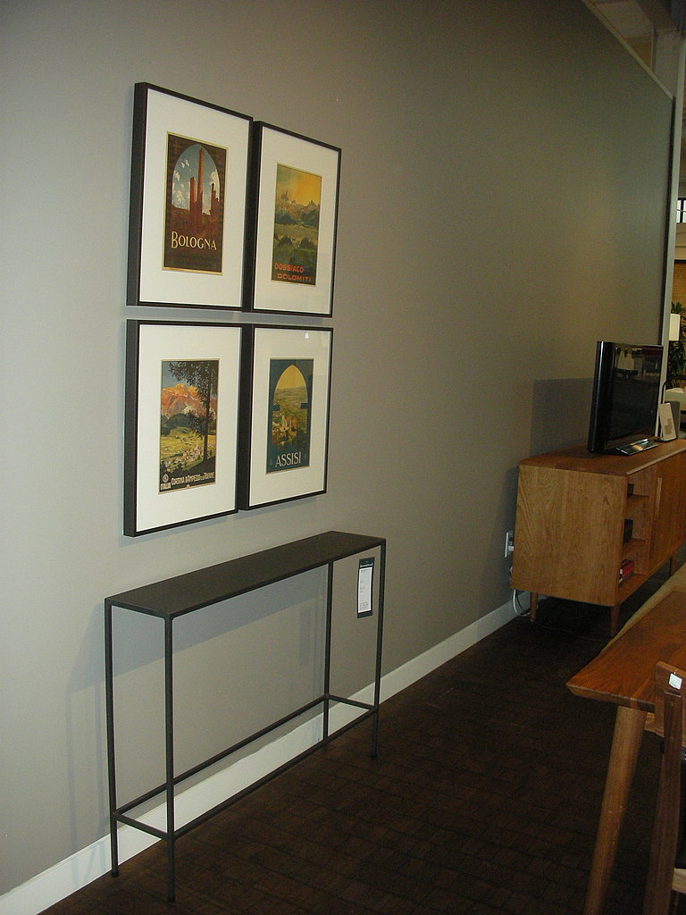 I think this console table is the idyllic table for a city apartment. Simple, slim, sleek. I can't find it online, but it goes for $179- definitely affordable!
