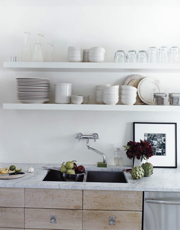 Make your kitchen much more livable with open shelving.
