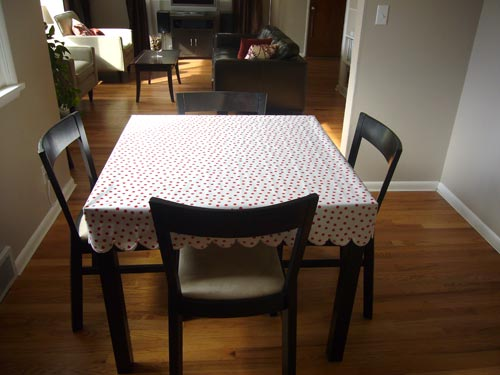 Twig and Thistle created this very pretty scalloped edge oilcloth table cover.