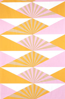"Lucienne was commissioned to design fabrics for Heals, a long-standing British department store chain, in 1950. The partnership continued for 25 years and resulted in over 70 designs, including this ""Sunrise"" fabric. Source"