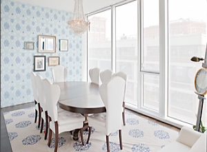 This dining room in Natalie Portman's former West Village apartment is elegant in a youthful way, perfect for a woman her age, and its Hudson River and park views are spectacular. Source